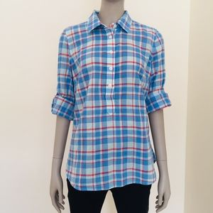 Vineyard Vines plaid popover tab sleeve Burgee